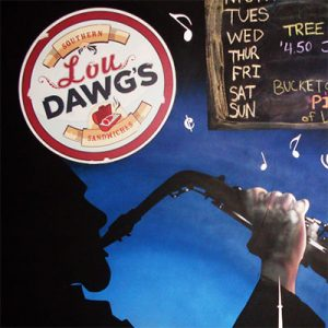 A bar sign MuralForm painted inside of Lou Dawgs in downtown Toronto.