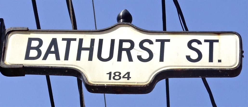 Bathurst Street Toronto Bathurst Street Sign Located