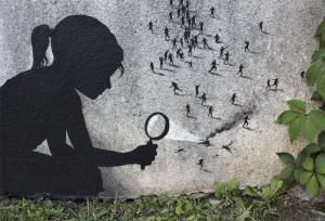 pejac girl magnifying glass ants