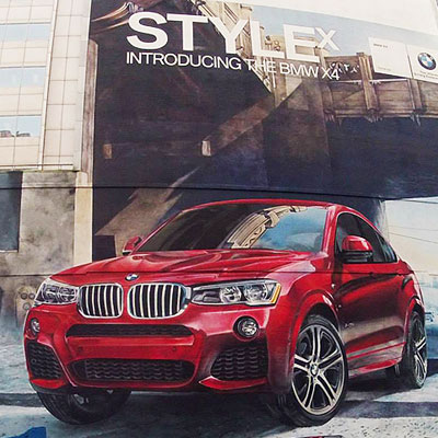 bmw large exterior advertising mural