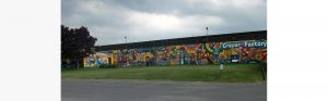 whole shot of crayola factory mural