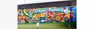 close up of crayola factory mural showcasing crayola characters