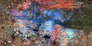 pejac monet boat painting