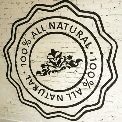 saje natural wellness interior custom hand-painted sign