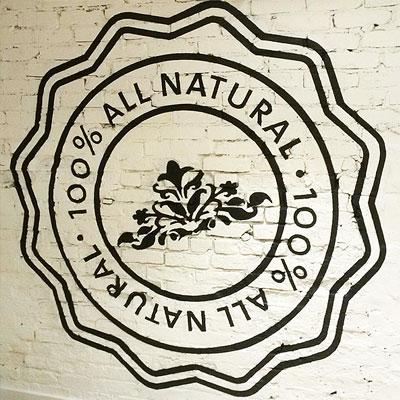 saje natural wellness interior custom hand-painted sign