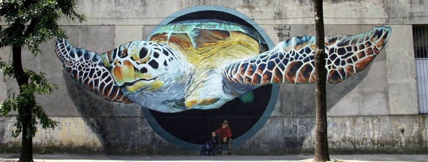 martin ron mural of a turtle coming out of wall