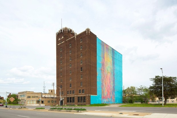 detroit's illuminated mural on building about to be demolished