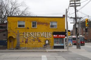 old leslieville mural painted by students 12 years ago
