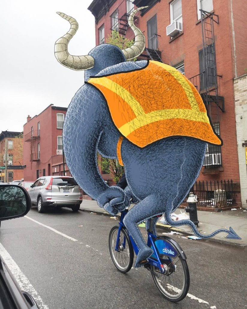 subway doodle by ben rubin showing a monster with two horns riding on a blue bicycle in new york