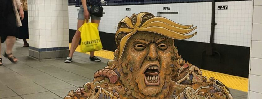 subway doodle by ben rubin showing a pile of garbage resembling donald trump in the subway of new york