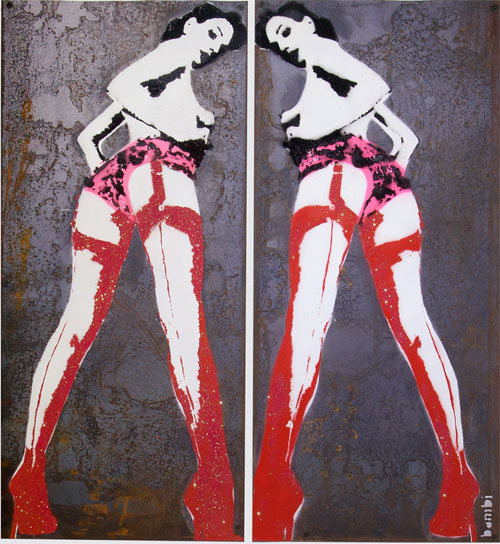 female banksy artwork of two women