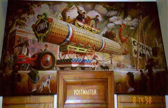 united states post office mural showing a large stylized piece of corn